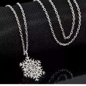 Silver rhinestone snowflake necklace